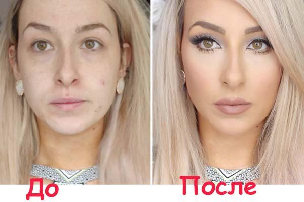 Лицо до и после нанесения тонального крема