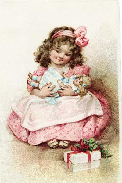 Старинная открытка с девочкой и куклой