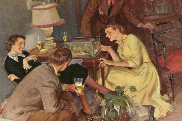 Гости пьют шампанское