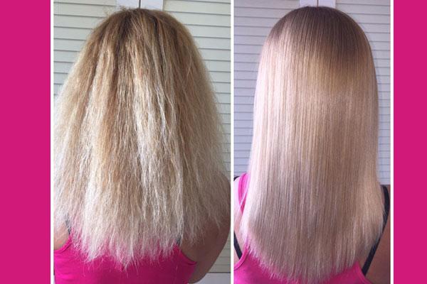 До и после ламинирования волос