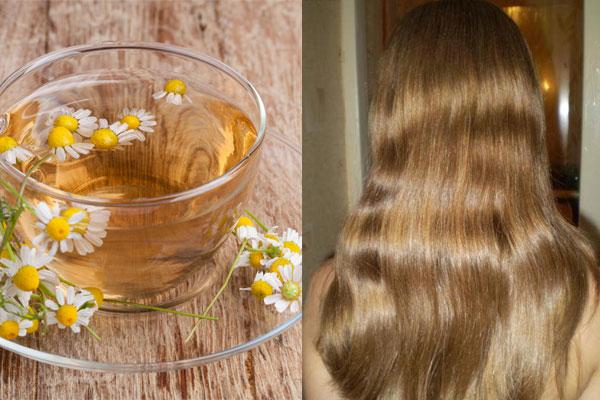 Чашка ромашкового чая и осветленные волосы
