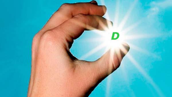 Буква D в пальцах руки на фоне голубого неба