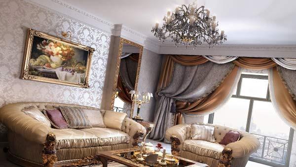 Классический интерьер, диваны, шторы, картина