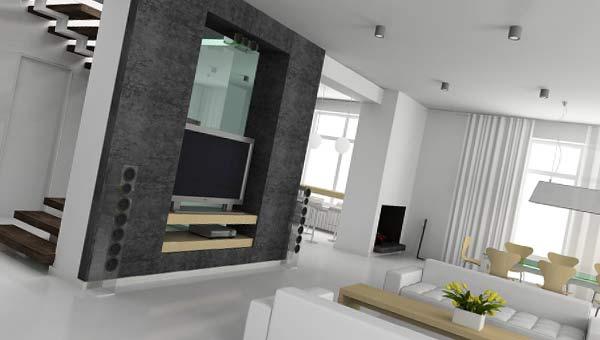 Квартира в стиле хай тек с лестницей на второй этаж