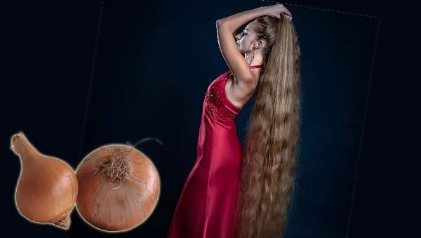 Девушка в розовом платье с длинными распущенными волосами, луковицы